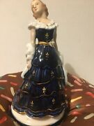 Porcelain Statues Figurines Lady With Hat Blue Dress