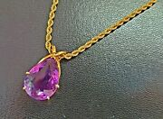 14k Gold Pear Shape 24x16mm 20ct Amethyst Pendant Necklace 20 Rope Chain 25.7g