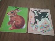 Frame Tray Puzzles Saalfield 'a Play Tray' Inlaid Puzzle Bunny Calf 2 Vintage