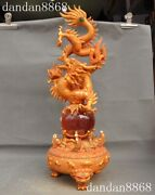 25rare China Fengshui Bronze 24k Gold Inlay Catand039s Eye Stone Dragon Totem Statue