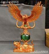 Rare China Fengshui Bronze 24k Gold Inlay Cat's Eye Stone Fly Eagle Beast Statue