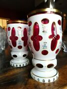 Antique Pair Of Victorian Bohemian Ruby Glass White Overlay Vases Hand Painted