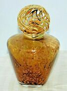 Hand Blown Controlled Bubble Iridescent Copper Brown Gold Swirl Top Oil Lamp