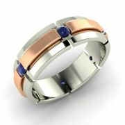 Menand039s 6 Mm Real Sapphire Wedding Ring / Band In Solid 10k White Gold Size 10.5