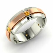Menand039s 6 Mm Natural Citrine Wedding Ring / Band In Solid 14k White Gold Size 9