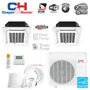 2 Zone Ductless Mini Split Ceiling Cassette A/c 9000 18000 With Remotes And Kits