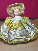 Vintage Antique Composite Southern Belle Girl Doll W/ Hat And Dress, Stands On Box