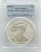 2006-p Liberty Eagle 1 One Dollar Silver Reverse Proof 1oz Coin Pcgs Pr69