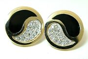 Ladies 14k Yellow And White Gold Yen Yang Pierced Post Earrings In Black Coral A