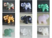 1.5and039and039 Carved Mixed Gemstone Crystal Elephant Animal Figurine Animal Carving