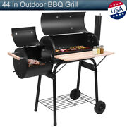 44in Outdoor Bbq Grill Charcoal Barbecue Pit Patio Backyard Meat Cooker Smoker