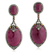 72.61ct Natural Ruby Dangle Earrings 925 Sterling Silver 18k Yellow Gold Jewelry
