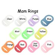 Mam Ring Dummy Pacifier Clip Adapter Transparent Silicone - Pick Color And Qty.