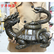 19and039and039 China Folk Snake And Turtle Mythical Animal Tortoise Bronze Statue
