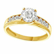 1.00 Carat 14k Solid Yellow Gold Cz Cubic Zirconia Solitaire Engagement Ring