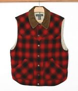 Banana Republic Red And Black Plaid Wool Insulated Hunting Fishing Vest Sz. M