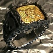 Solid 24k Gold Skull Crossbones Black 999 Silver Ring Any Size Made To Order