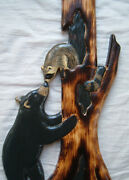 Wood Carving Raccoon And Black Bear Chainsaw Cabin Decor Wall Art Carved Cub