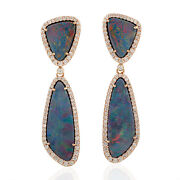 13.64 Natural Doublet Opals Dangle Earrings 18k Rose Gold Diamond Jewelry