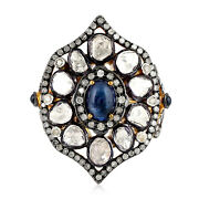 Halloween Sale Cocktail Ring Diamond Sapphire Silver 18k Gold Jewelry Ing-7125