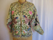 Vintage 19th Century Chinese Embroidered Silk Jacket W/ Beaded Fringe And Mirrors