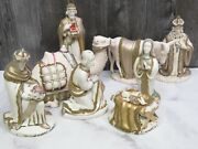 Incredible Holland Mold 1969 Christmas Nativity Set Jeweled Gold Signed 9 Piece