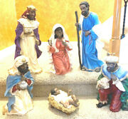 """Rare Vintage 6 Pc. Large African American Nativity Christmas 10"""" To 24"""" Figures"""