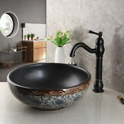 Bathroom Deck Mounted Round Vessel Sink Bowl Oil Rubbed Bronze Mixer Taps Faucet