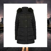 Women Tokyo Laundry Faux Fur Hooded Quilted Puffa Coat 3j9826