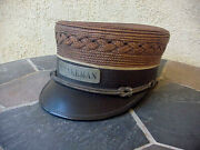 Antique Rare Basket Weave Cbandq Railroad Brakeman Hat 1860and039s-1900and039s No Damage