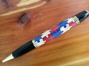 Handcrafted Patriotic Red, White And Blue Puzzle Pieces Pen In A Black Velour Ca
