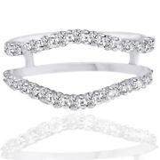 3/4 Ct Round Cut Natural Diamond Guard Solitaire Wedding 14k White Gold Ring