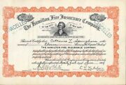 Hamilton Fire Ins Co Of The City Of Ny - Stock Certificate