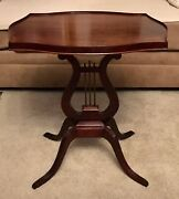 Antique Greek Lyre Style Harp Base Solid Mahogany Wood End / Side /coffee Table