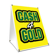 A-frame Sidewalk Sign Cash For Gold With Graphics On Each Side