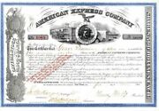 American Express Company Signed By Henry Wells And Jas. C. Fargo - Stock Certifi