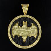 Black And Yellow Stone Outrageous Hand Set Bat Man Pendant In 14k Yellow Gold Over