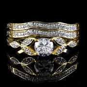 1.40 Ct Round Simulated Vintage Antique Style Three Ring In 14k Yellow Gold