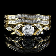 1.40 Ct Round D/vvs1 Vintage Antique Style Three Ring In 14k Yellow Gold