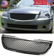 3d Gloss Black Badgeless Bumper Abs Grill Grille Fit Nissan 05-06 Altima 4d