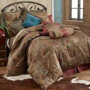 Hiend Accents San Angelo Western Comforter Set With Red Bedskirt King
