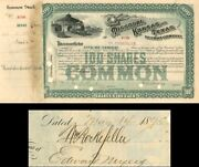 Missouri Kansas And Texas Railway Company Issued To And Signed By Wm. Rockefell