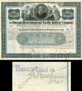 Chicago, Rock Island And Pacific Railway Bond Signed By George Eastman
