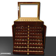 100 Pen Case Wood With Glass Top Display Burgundy