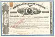 American Express Company Signed By Henry Wells And James C. Fargo - Stock Certif