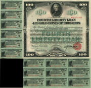 100 Fourth Liberty Loan Gold Bond - Great Color