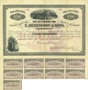 E. Remington And Sons Company 500 6 Bond Signed By Eliphalet Remington Iii