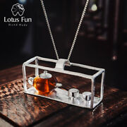 Vintage Natural Amber Teapot Pendant For Women Solid 925 Sterling Silver Jewelry