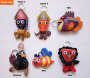 Leather Keychain Cute Colorful Animal Keyring Key Chains Handmade Gift A3