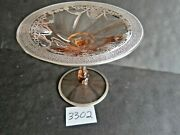 Heisey 5 3/4 Inch High Pink Glass Compote With Silver Overlay